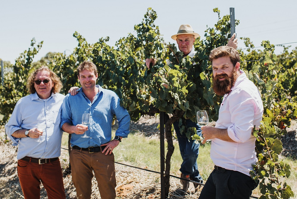 Ernst Loosen with Peter, Tom and Sam Barry in the Wolta Wolta Riesling block